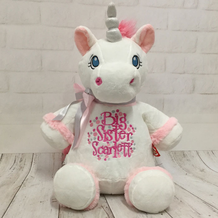 Personalised Big Sister Cubbies White Unicorn Soft Toy