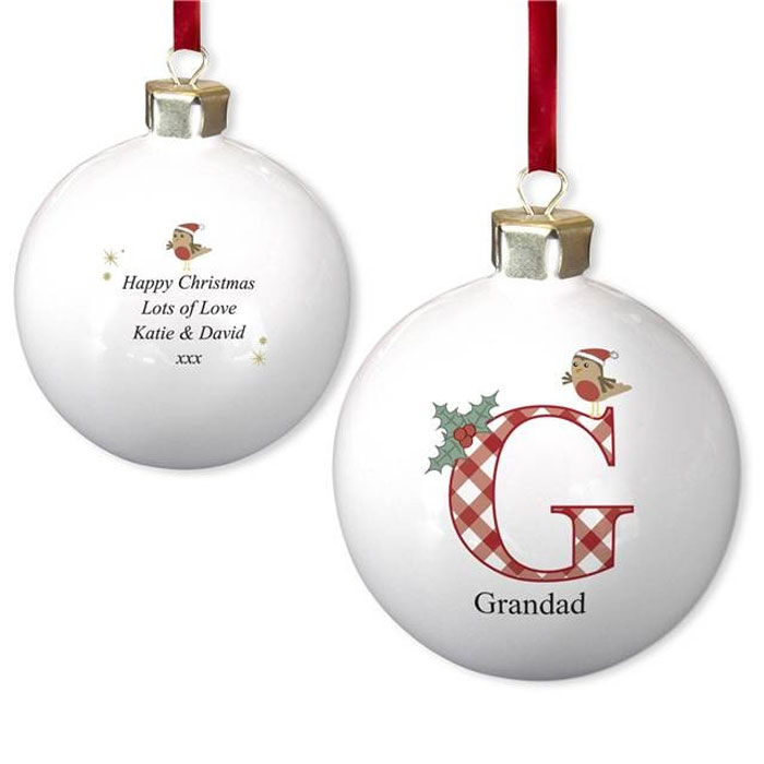 Personalised Initial Robin Bone China Tree Bauble