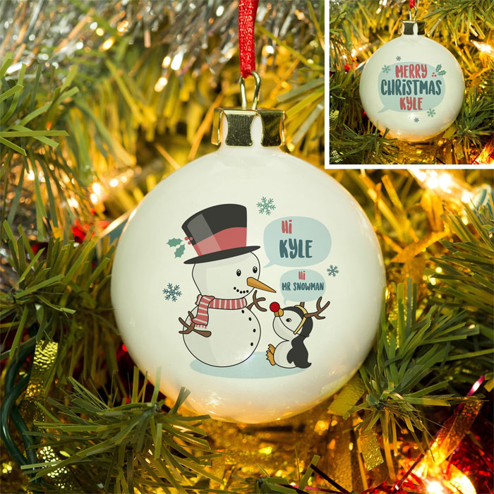 Personalised Mr Snowman Bone China Tree Bauble