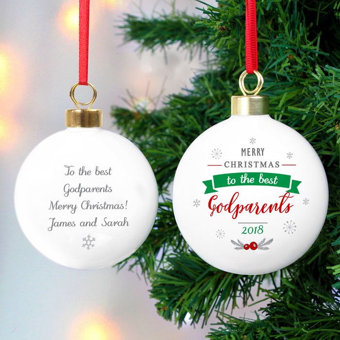 Personalised To The Best Godparent Christmas Tree Bauble