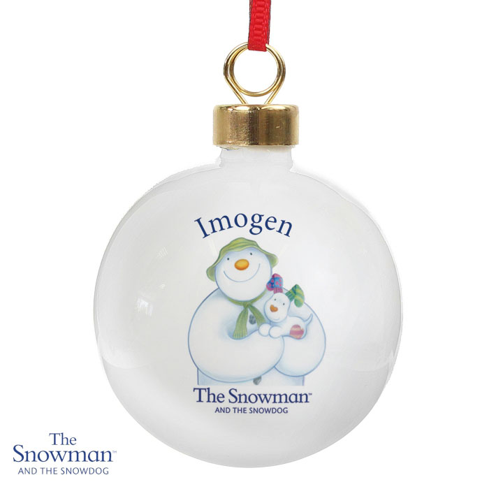 Personalised The Snowman and the Snowdog Tree Bauble