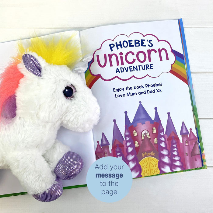 Personalised Unicorn Story Book & Plush Toy Gift Set
