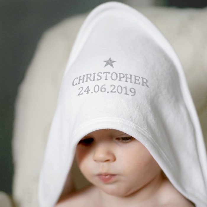 Personalised White Hooded Baby Towel With Silver Star