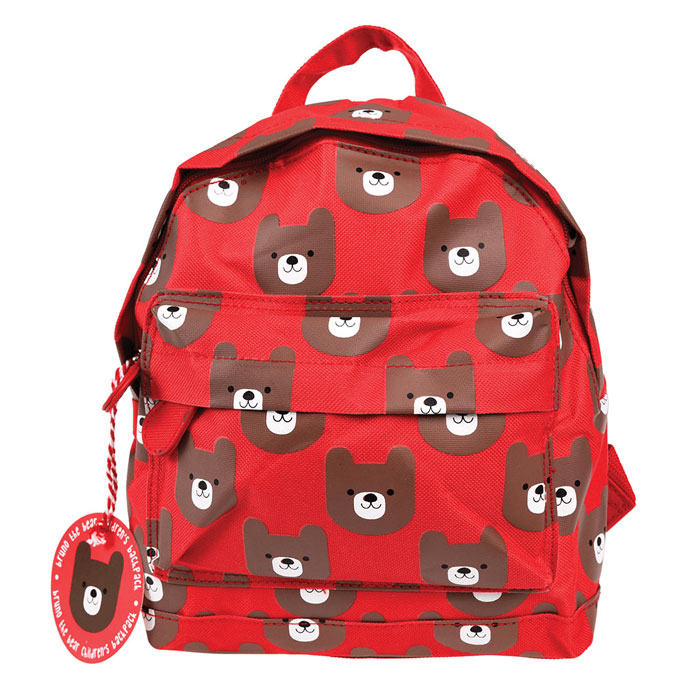 Personalised Red Bear Backpack School Nursery Bag