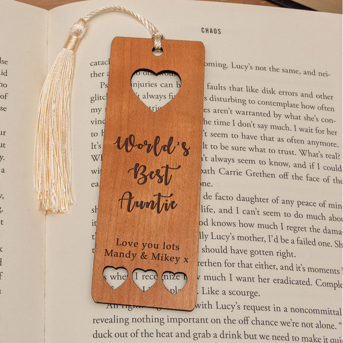 Personalised Worlds Best Wooden Bookmark Mummy Gran Auntie