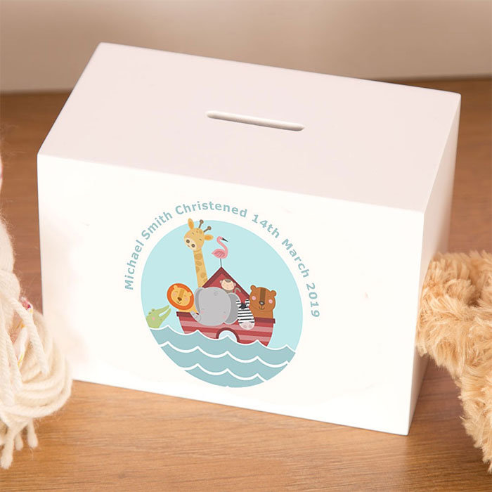 Noahs Ark Personalised Wooden Childrens Money Box