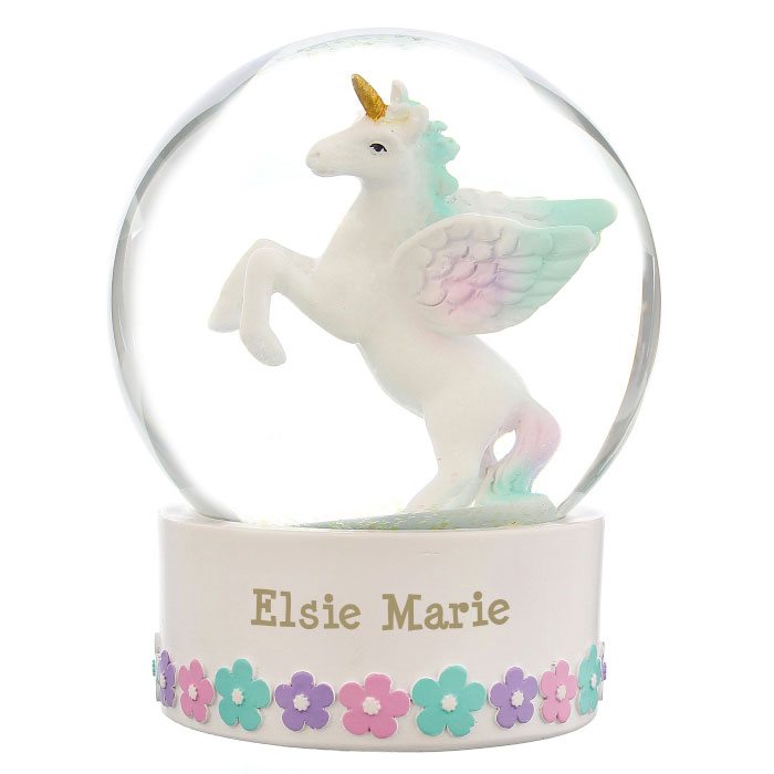 Personalised Unicorn Name Only Snow Globe