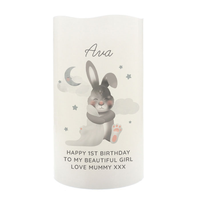 Personalised Baby Bunny LED Candle Night Light