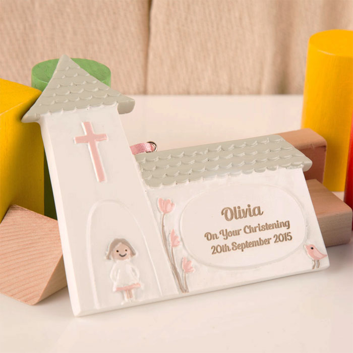 Girls Personalised Christening Church Ornament