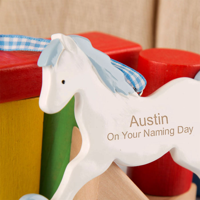 Boys Personalised Naming Day Gift Rocking Horse Ornament