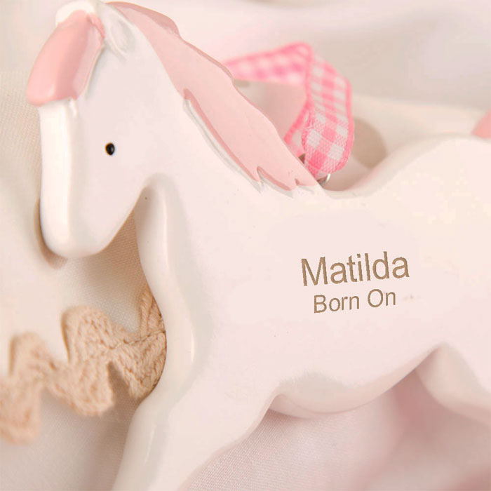 Girls Personalised Rocking Horse Ornament New Baby Gift