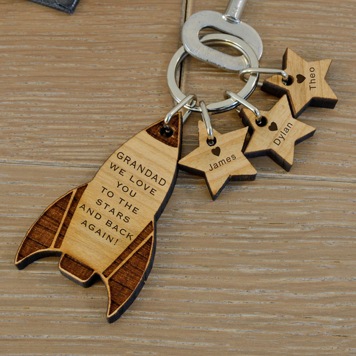 Personalised Wooden Rocket and Stars Key Ring