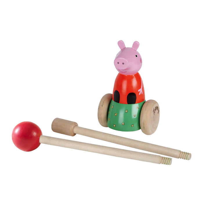 Personalised Peppa Pig Wooden Push Along Toy