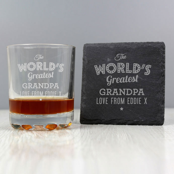 Personalised The Worlds Greatest Whisky Tumbler and Coaster