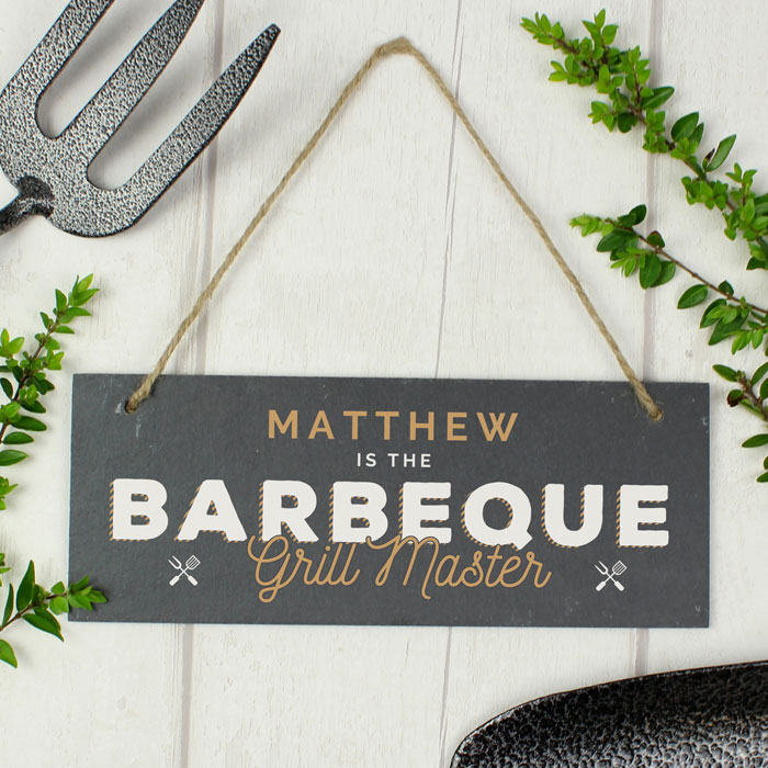 Personalised Barbeque Grill Master Printed Hanging Slate