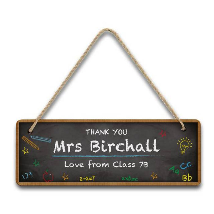 Personalised Chalkboard Classroom Hanging Teacher Sign