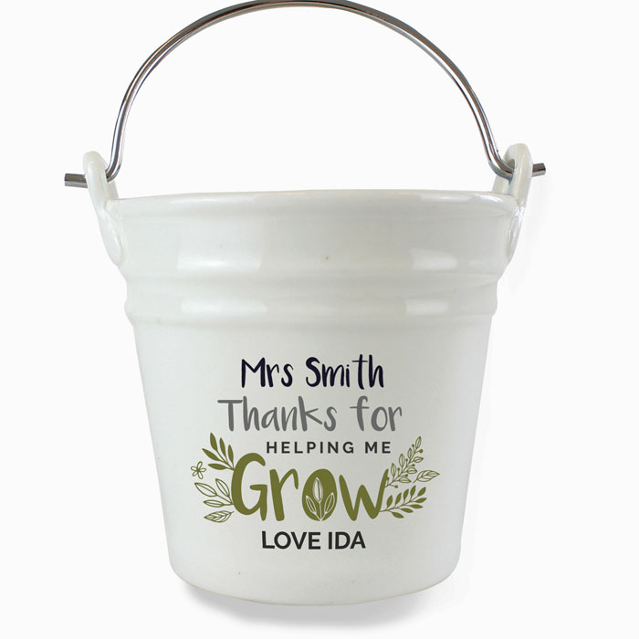 Personalised Thanks for Helping Me Grow Porcelain Planter
