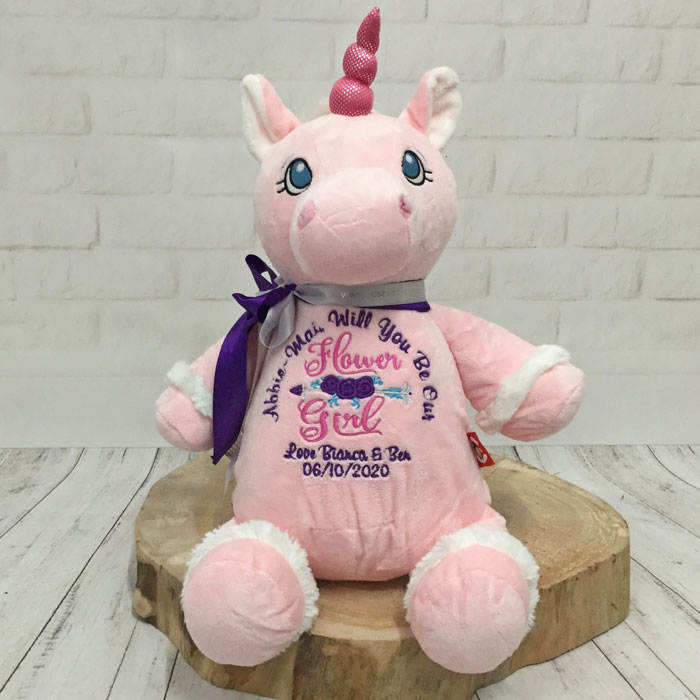 Will You Be My Flower Girl Personalised Unicorn Teddy Bear