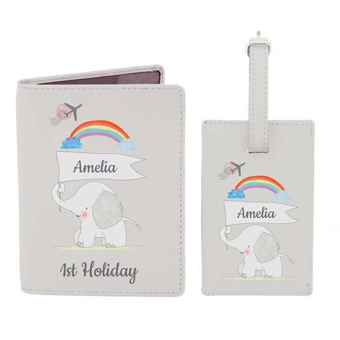 Elephant Personalised My 1st Passport Holder & Luggage Tag