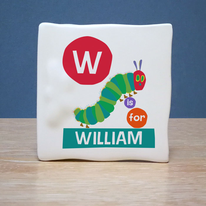 Personalised Hungry Caterpillar Initial Bone China Baby Card