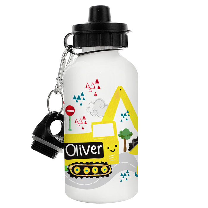 Boys Personalised Yellow Digger Water Bottle