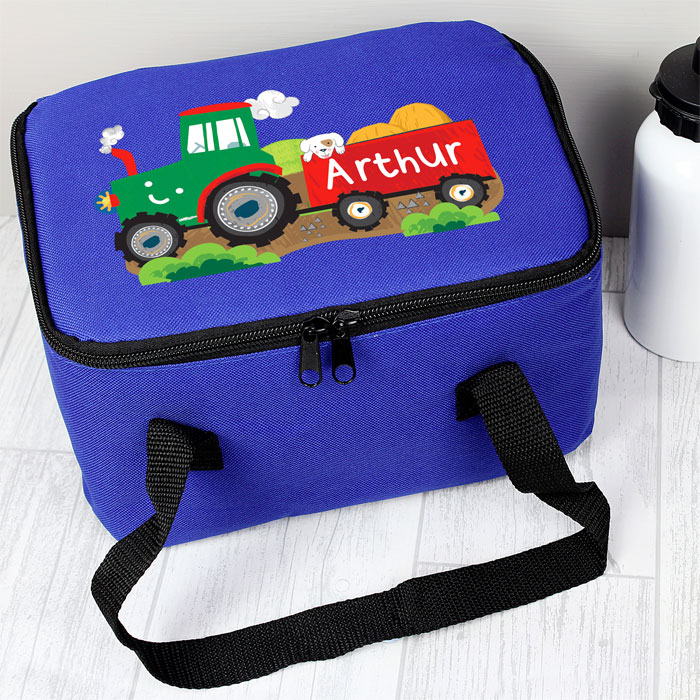 Personalised Boys Blue Tractor Insulated Lunch Sandwich Bag