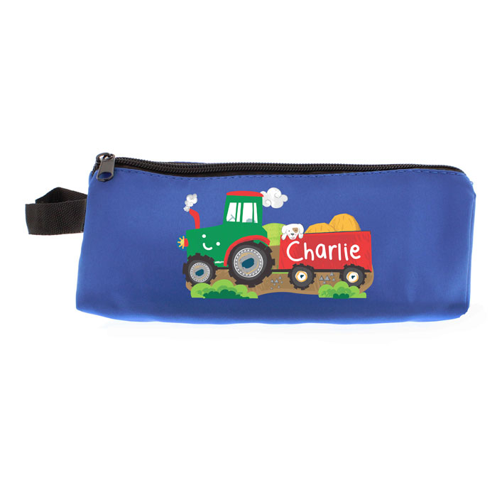 Boys Personalised Tractor Blue Pencil Case