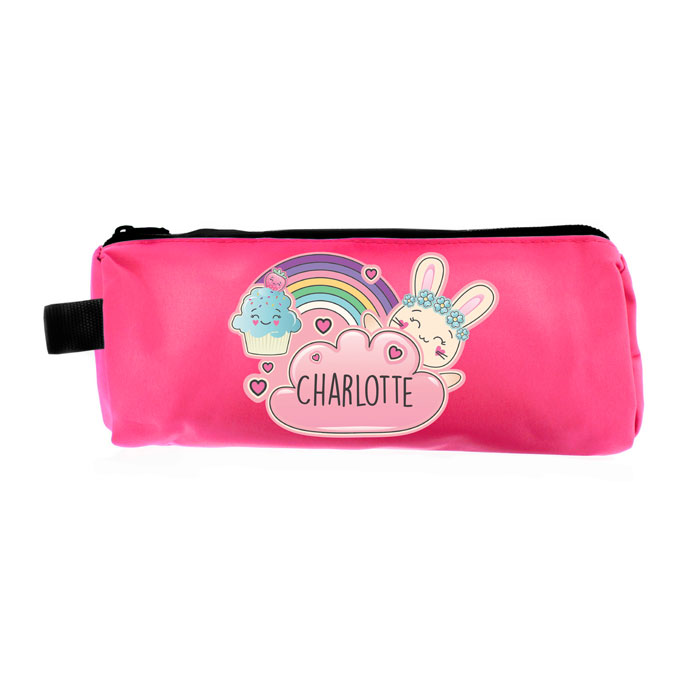 Personalised Girls Cute Bunny Pink Pencil Case