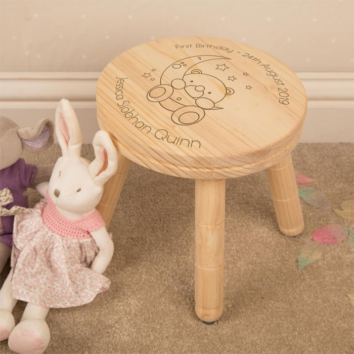 Personalised Baby Bear and Moon Childrens Wooden Stool