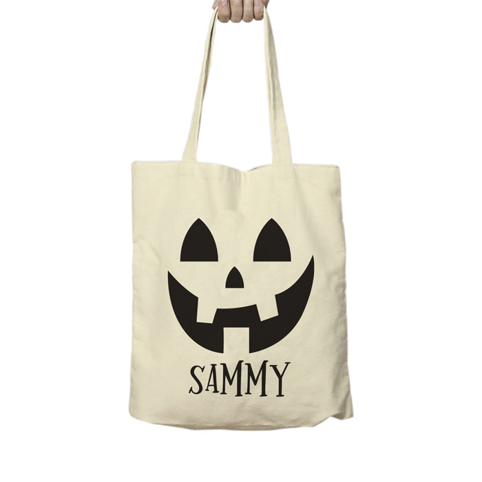 Personalised Pumpkin Halloween Treats Childs Cotton Tote Bag