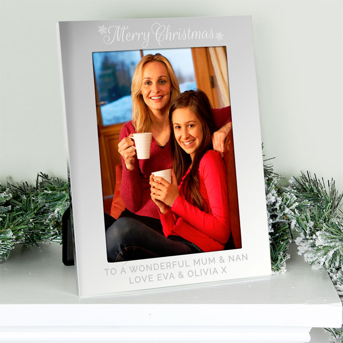 Personalised Silver 5x7 Inch Merry Christmas Photo Frame