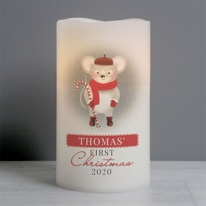 Personalised 1st Christmas Mouse Nightlight LED Baby Candle
