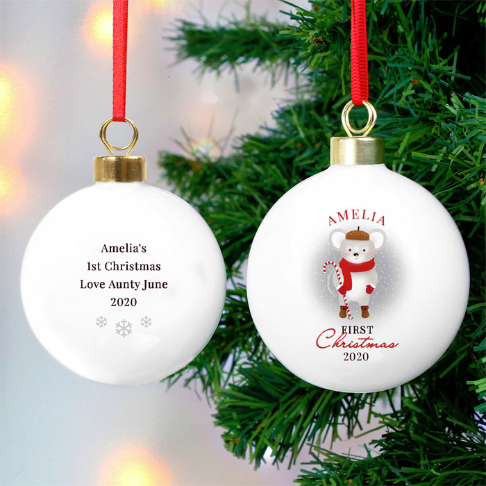 Personalised First Christmas Mouse Ceramic Babys Tree Bauble