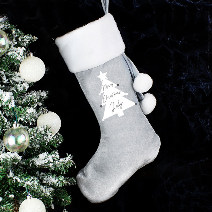 Personalised Christmas Tree Luxury Silver Fleece Stocking