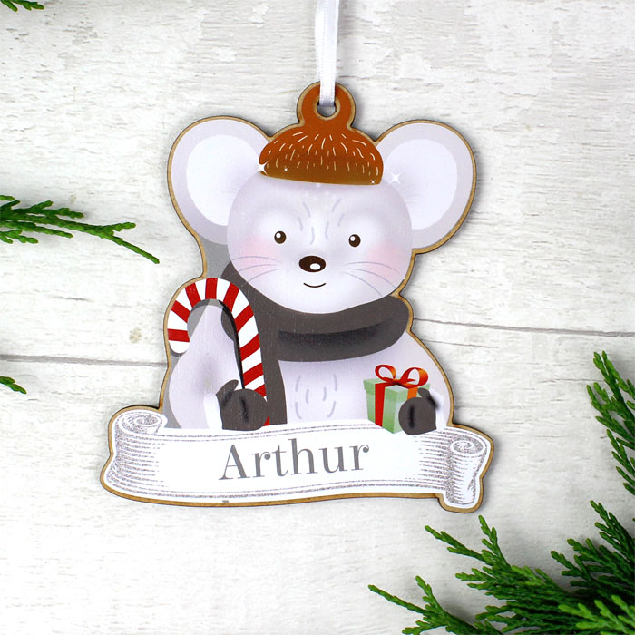 Personalised Set of Four Wooden Christmas Decorations