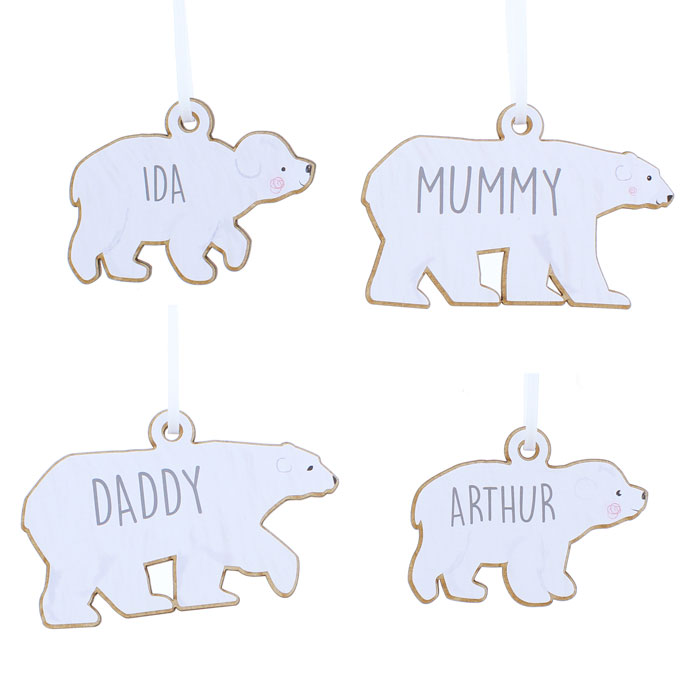 Personalised Set Polar Bear Family Wooden Xmas Decorations