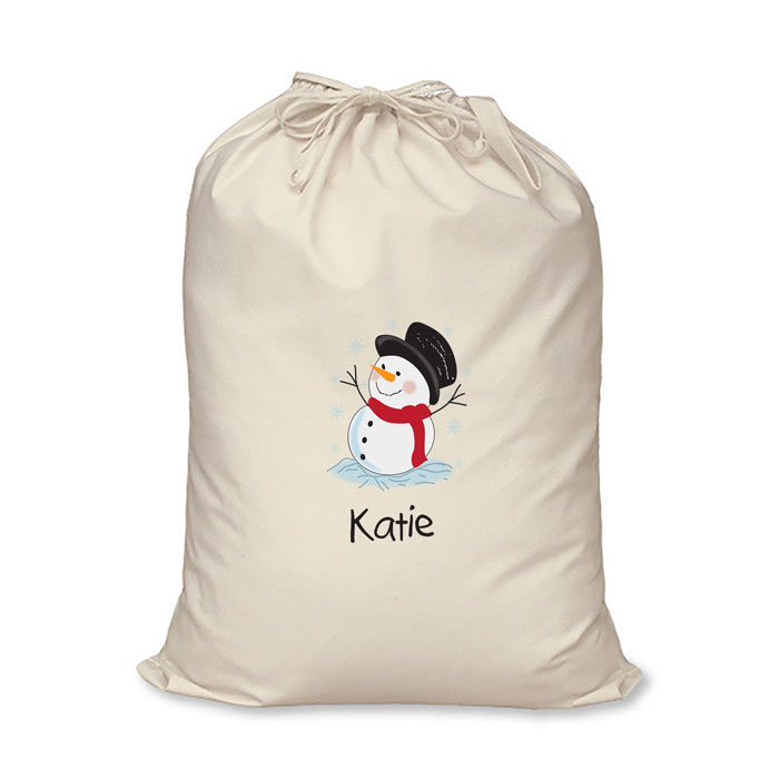 Personalised Childrens Snowman Cotton Santa Sack