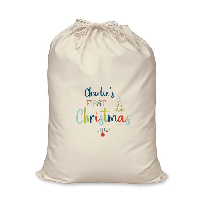 Personalised My First Christmas Cotton Santa Sack