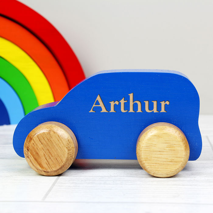 Personalised Wooden Blue Toy Car