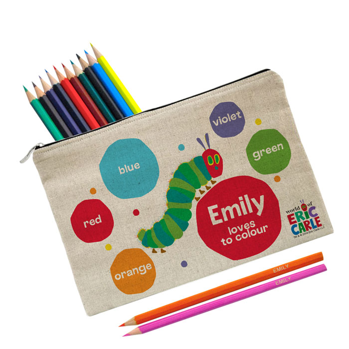 Personalised Hungry Caterpillar Loves To Colour Pencil Case