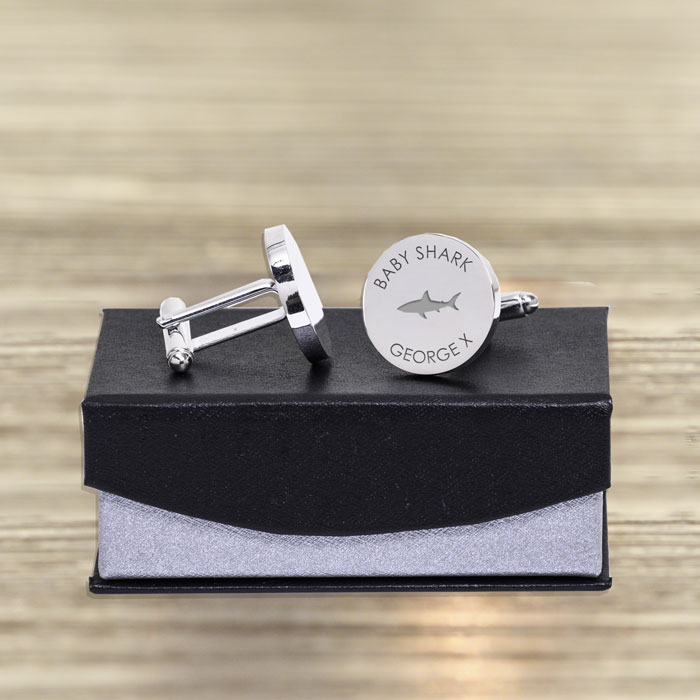 Personalised Daddy Shark Baby Shark Silver Plated Cufflinks