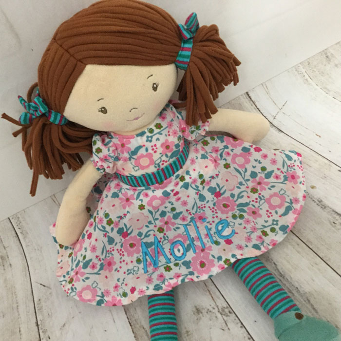 Personalised Embroidered Fair Trade Baby Safe Rag Doll Fran