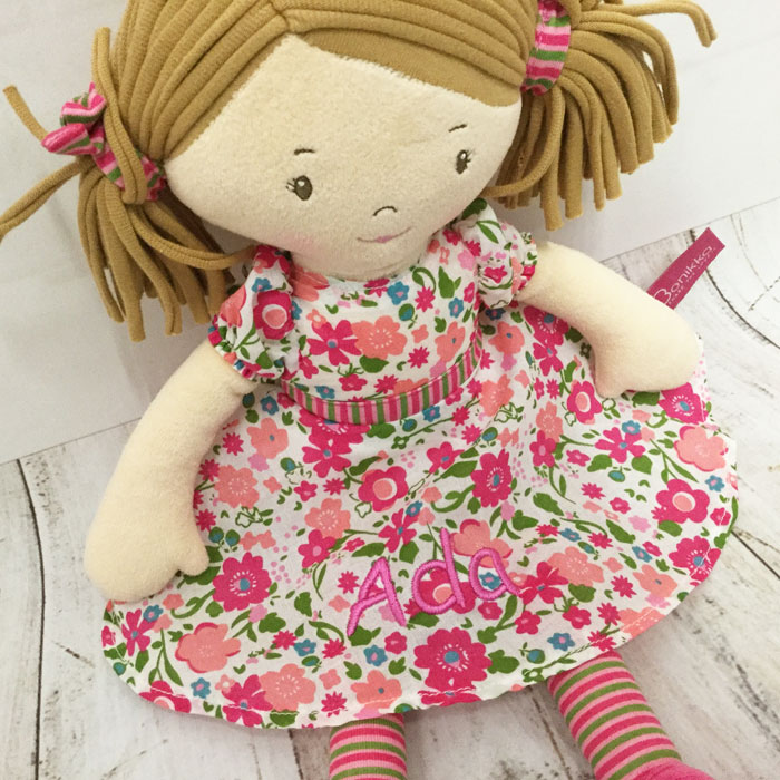 Personalised Embroidered Fair Trade Baby Safe Rag Doll Katy