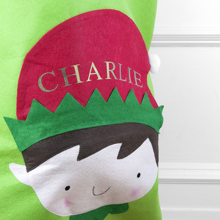 Childrens Green Personalised Christmas Elf Santa Sack
