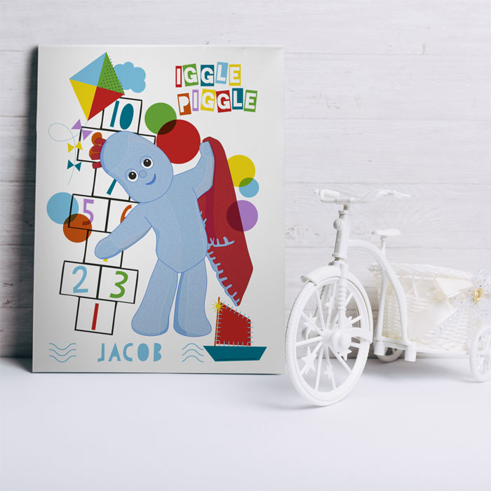 Personalised Igglepiggle Hopscotch Name Canvas