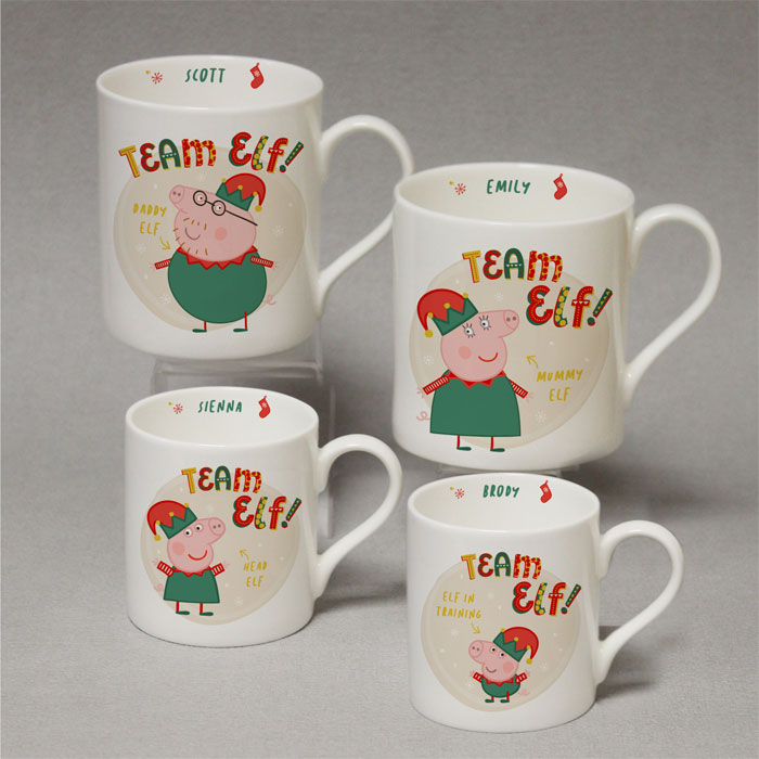 Personalised Peppa Pig Team Elf Balmoral Christmas Mug