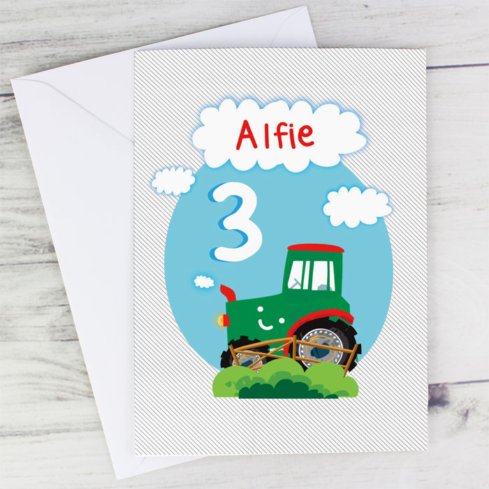 Personalised Boys Tractor Birthday Card