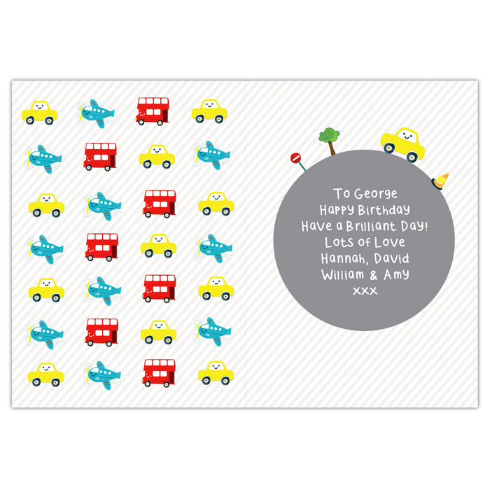 Boys Personalised Vehicles Birthday Card