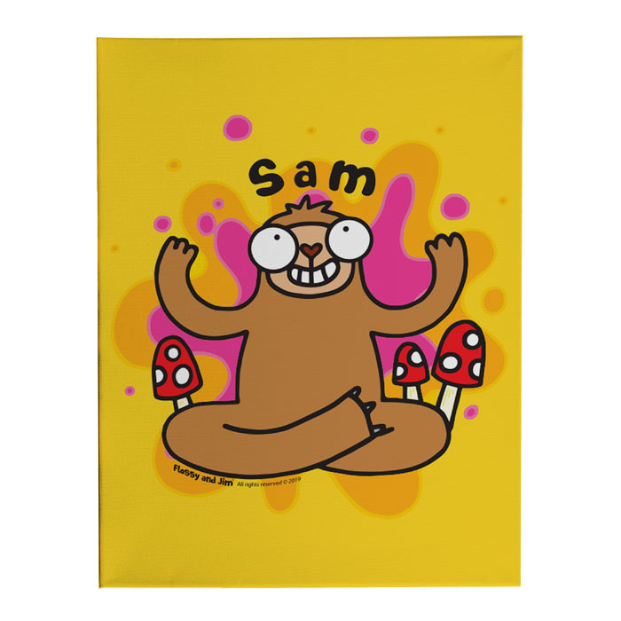 Personalised Groovy Sloth Canvas