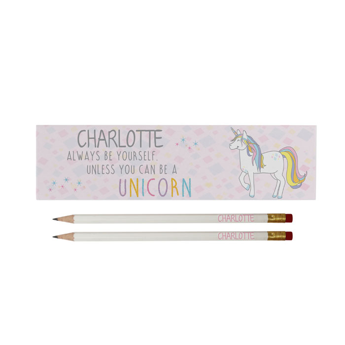 Personalised Always Be A Unicorn White Pencils Set